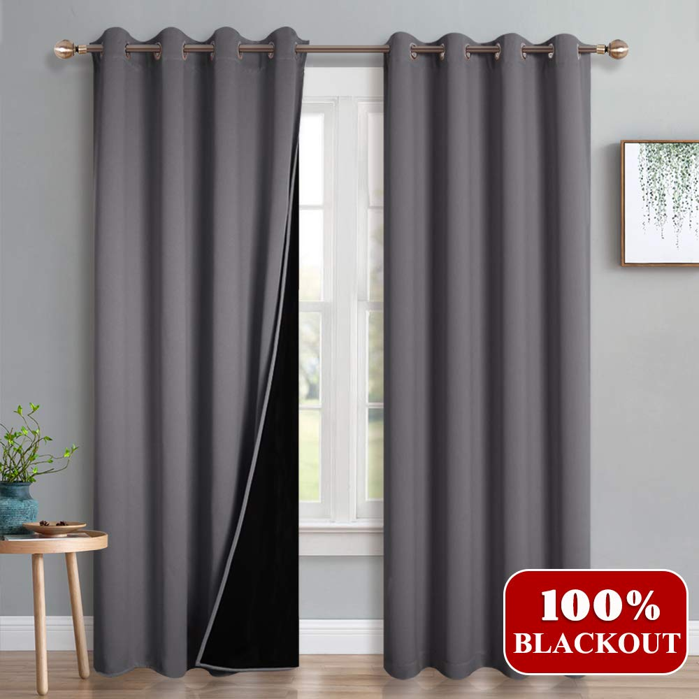 PONY DANCE Curtains Black Liner - 100% Blackout Drapes Top Grommet Full Shading Light Blocking & Energy Saving Window Treatments Curtain 2 Layer, W 52 - L 95 in, Grey, 2 Panels