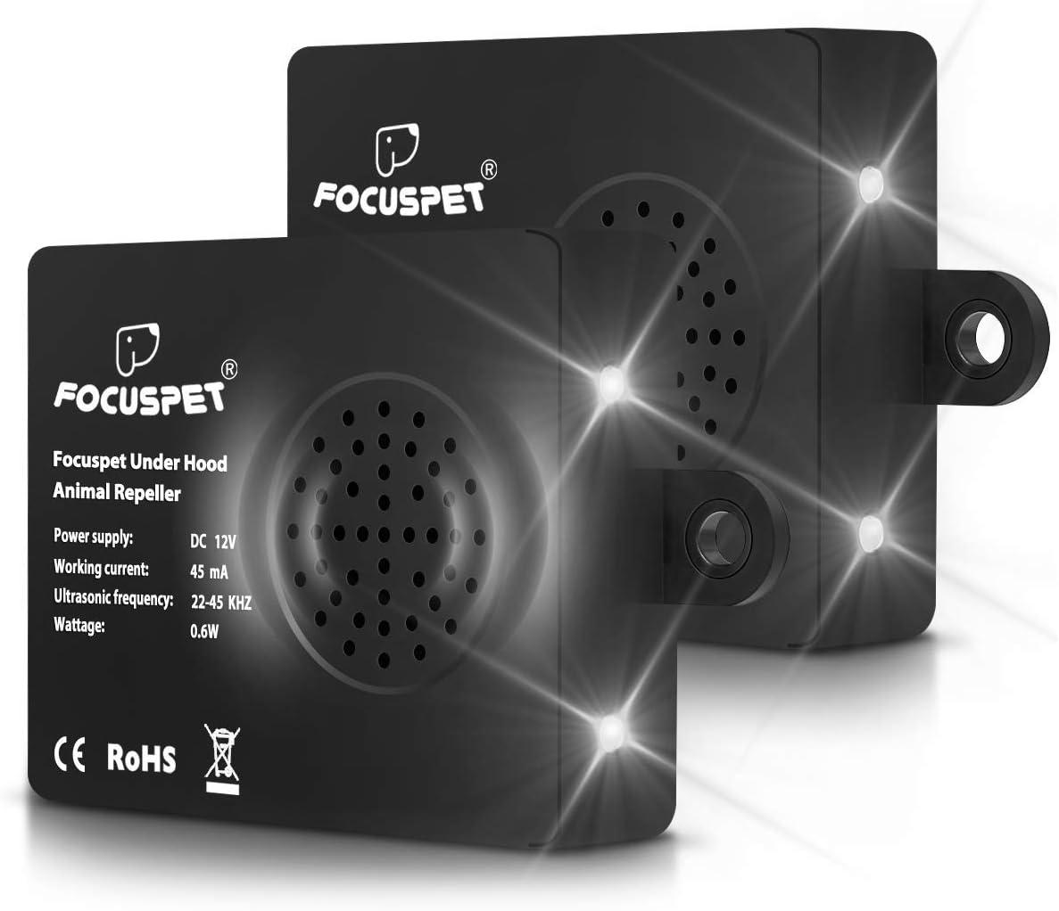 Focuspet Repelente Ultrasonico de Ratas Coche, [2 Piezas] 12V Bateria Cargada, Ahuyentador de Roedores Control de Comadreja, Mole, ratone para Casa 22-45KHZ