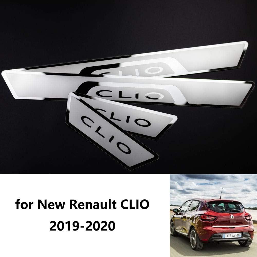 wowowa 4 pcs en Acier Inoxydable Plaque de seuil de Porte seuil de Voiture Accessoires de Voiture de Style pour Nouvelle Renault Clio 2019-2020