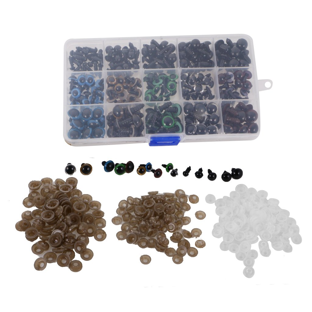 6-12mm Mixed Color Plastic Safety Eyes for Bear Doll DIY Sewing Supplies 1 Box Jili Online 264 Pieces