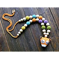 Fox nursing necklace, teething necklace, breastfeeding necklace, natural, rainbow, eco friendly, wooden unisex teething toy, shower gift