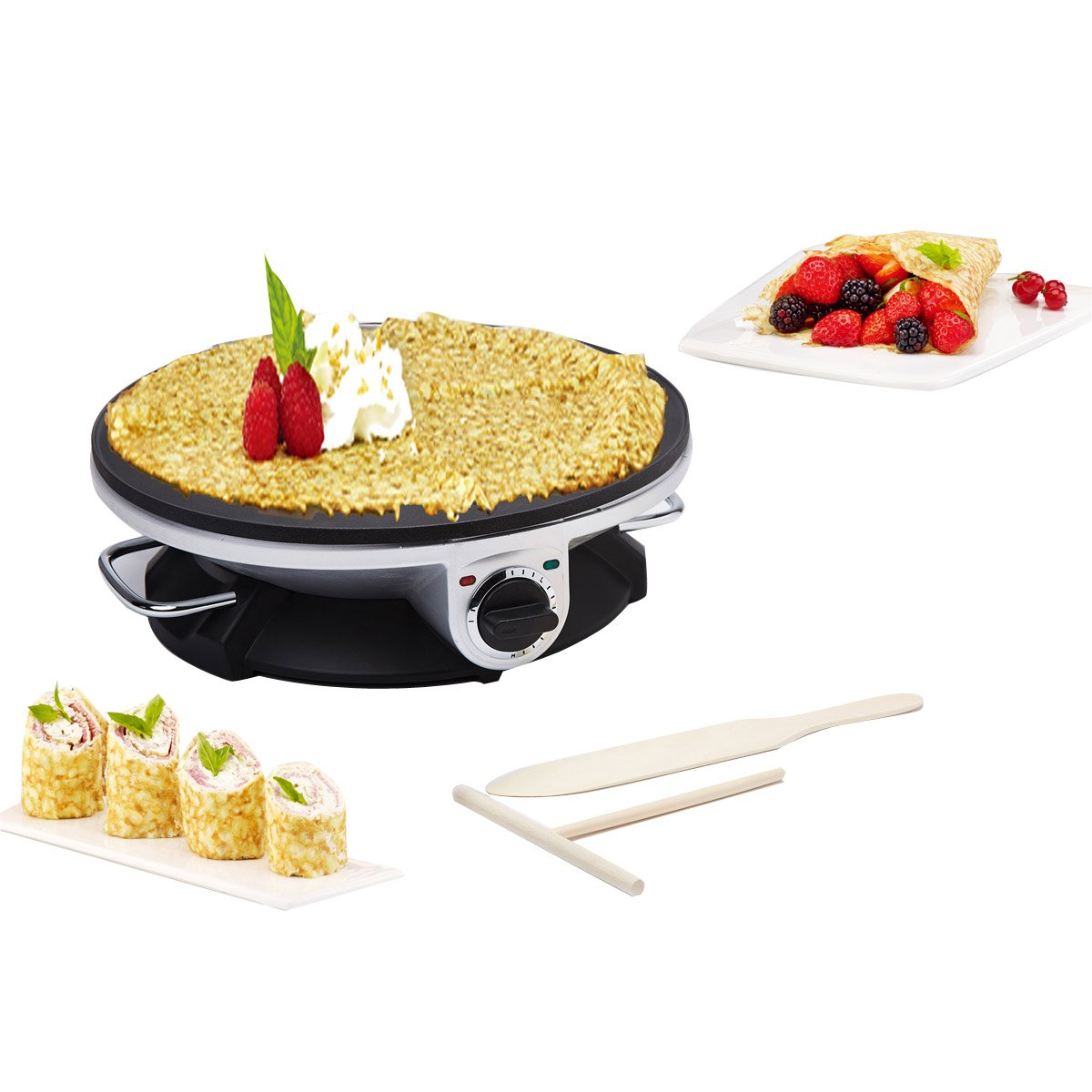 Health and Home No Edge Crepe Maker - 13 Inch Crepe Maker & Electric Griddle - Non-stick Pancake Maker- Waffle Maker- Crepe Pan