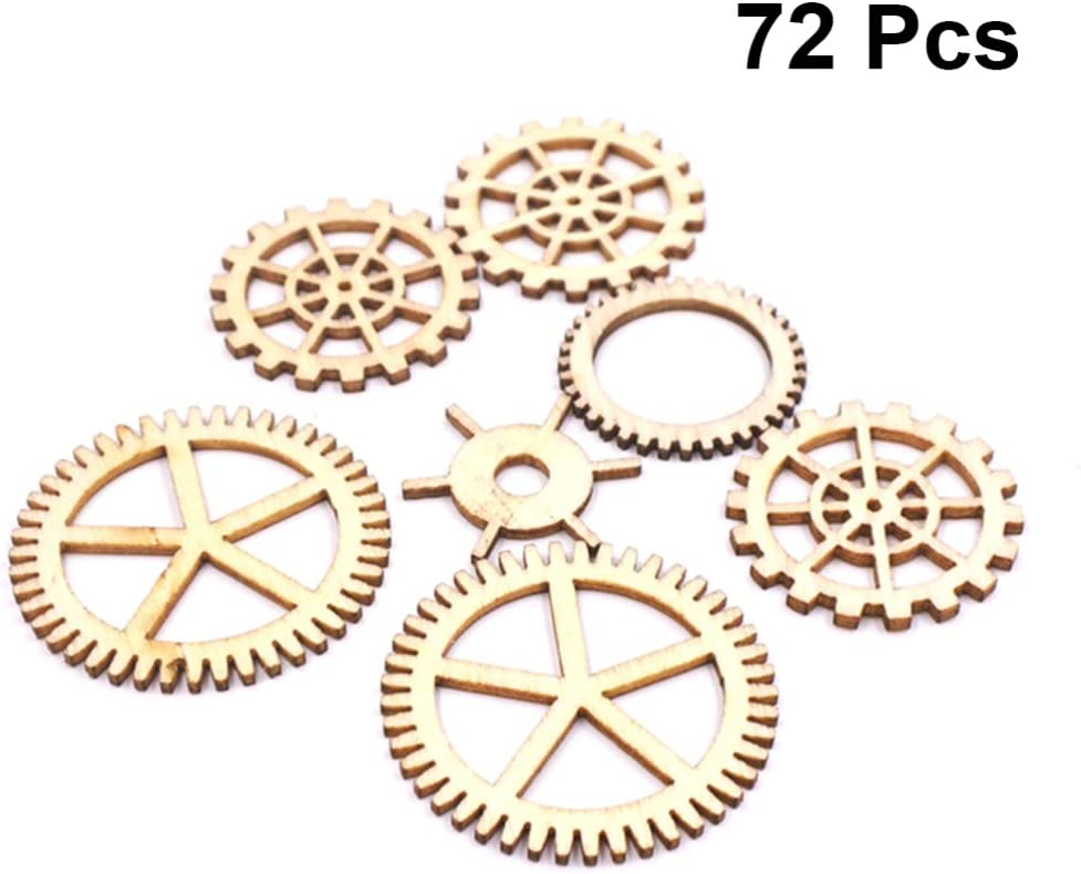 150 Unfinished Blank Gear Wooden Pieces Wood Hollow Gears Puzzle Assorted Shape