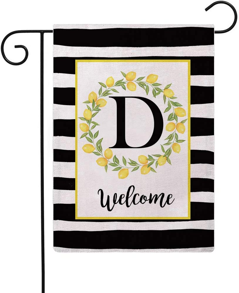 ULOVE LOVE YOURSELF Welcome Farmhouse Decorative Garden Flags with Letter D/Lemons Wreath Double Sided House Yard Patio Outdoor Garden Flags Small Garden Flag 12.5×18 Inch (D)