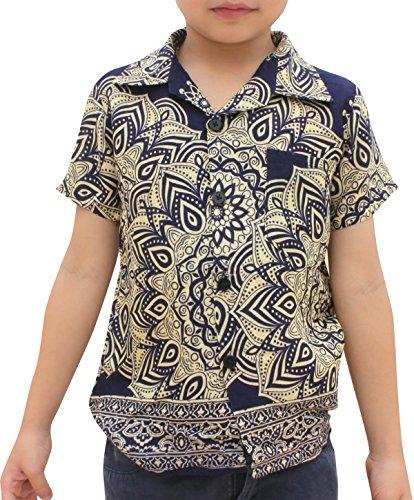 Raan Pah Muang Childrens Hawaiian Shirt in Summer Rayon Mixed Art, 3-6 Years, Lotus Floral - Blue