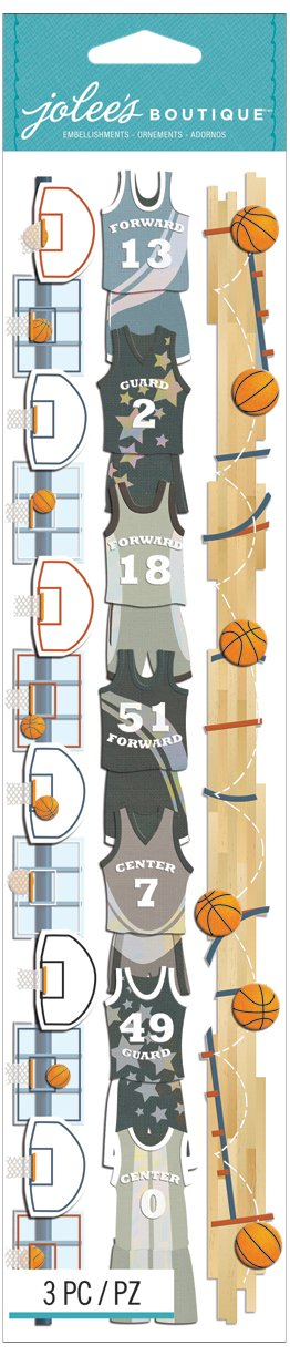 Jolees Boutique Dimensional Border Stickers Basketball