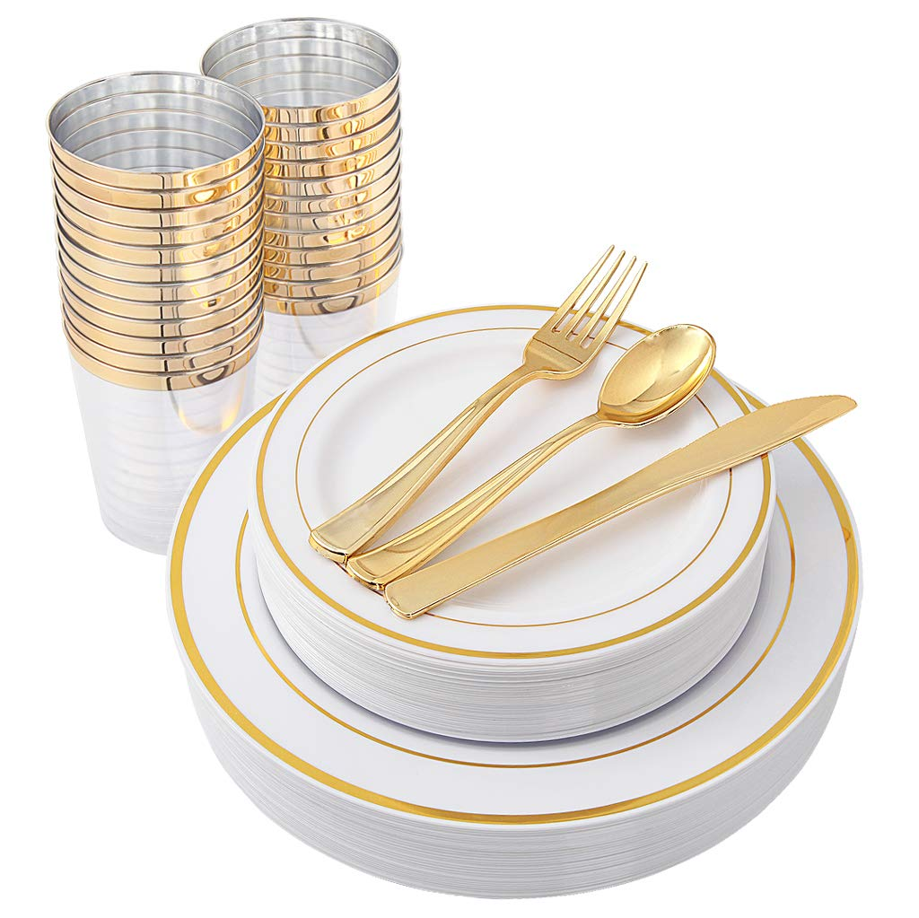 150 Pieces Premium Quality Gold Plastic Plates with Disposable Silverware & Gold Cups Includes: 25 Dinner Plates 10.25'', 25 Salad Plates 7.5'', 25 Tumblers, 25 Knives, 25 Forks, 25 Spoons by WELLIFE