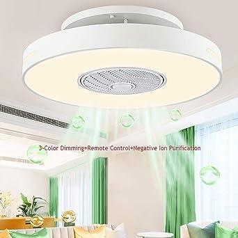 Ventilador de techo invisible con lámpara Romote Control y aire purificador for sala de estar/oficina LED Lámpara de ventilador de techo regulable Velocidad del viento ajustable/sincronización int: Amazon.es: Iluminación