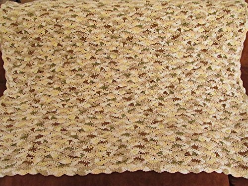 Cotton Crochet Baby Blanket, Beige Tones by Fair Crochet
