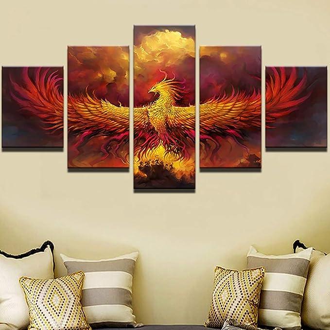 BOYH Pintura sobre Lienzo Fénix de Fuego 5 Paneles Moderno