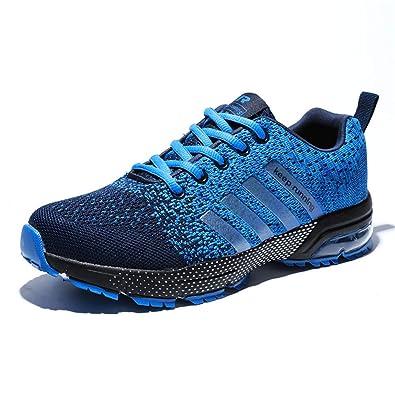 ec12518e673f9 AZOOKEN Chaussures de Course Sport Basket Compétition Running Trail  Entraînement Multisports Homme Femme(8702Blue36)