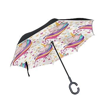 ISAOA Paraguas grande invertido resistente al viento, doble capa, paraguas plegable reversible para coche