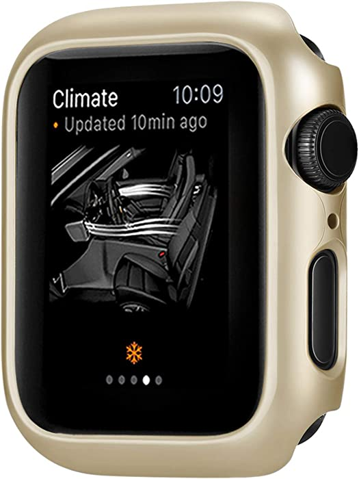 Leotop Compatible with Apple Watch Series 6 5 4 SE Case 44mm 40mm, Super Thin Bumper Protector PC Hard Cover Lightweight Slim Shockproof Accessories Matte Frame Compatible iWatch (Gold, 40mm)
