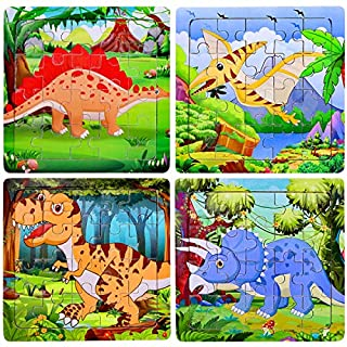 Max FunWooden Jigsaw Puzzles Dinosaur Puzzle for Kids 20 Pieces Preschool Educational Learning Toys Set Animals Puzzles for Boys Girls (4 Puzzles)