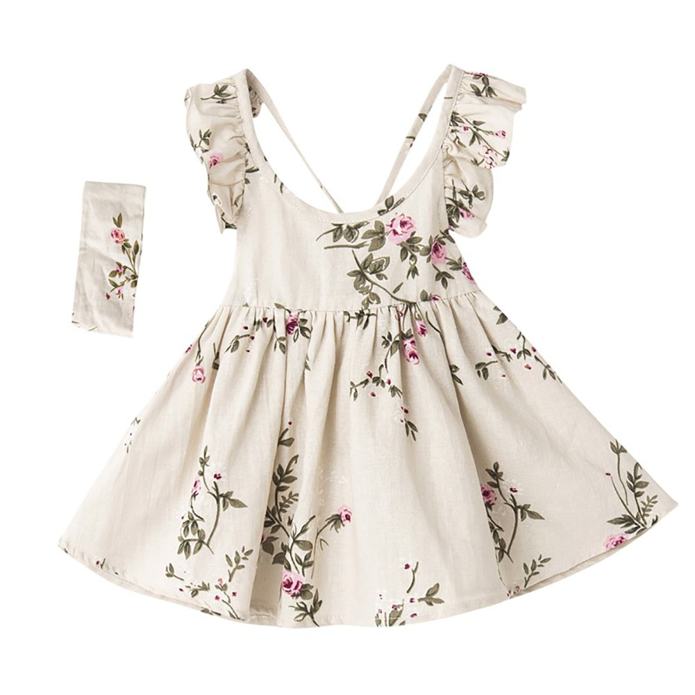 TWOPAGES Girl Linen Casual Vintage Floral Print Dress Summer Backless Princess Dresses With Headband