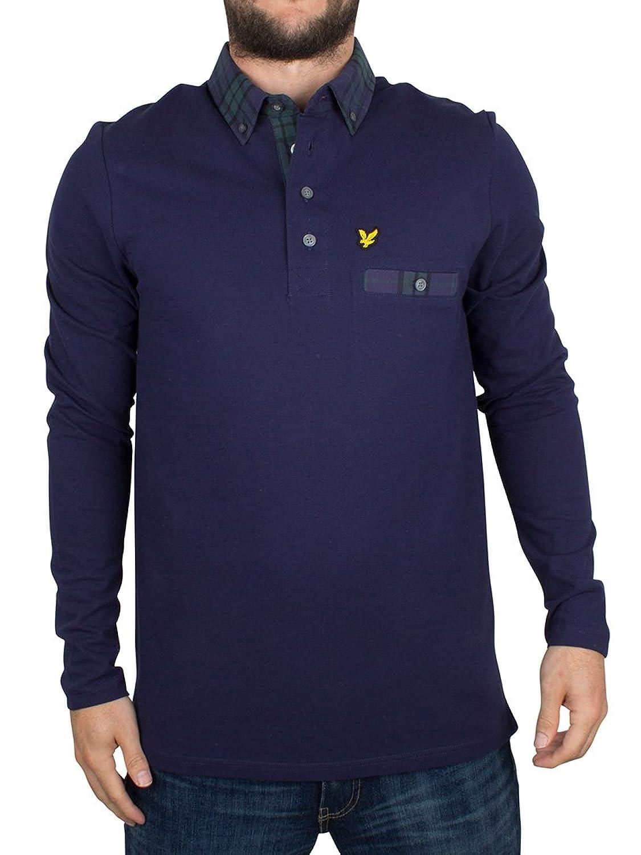 Lyle & Scott Herren Longsleeved Karo Trim Kragen Logo-Polo-Hemd, Blau