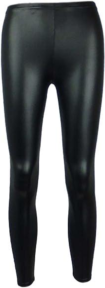 NEW Girls Black Wet Look Leggings Ages 7-8,9-10,11-12 Years