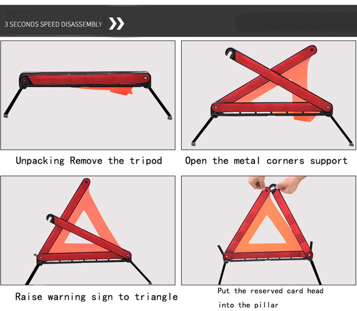 YWSDshop Car Warning Triangle,Emergency Reflective Warning Road Safety Triangle Signs Kit 1