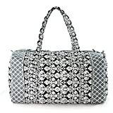 Cheap Floral Quilted Cotton Duffle Bag Black/White