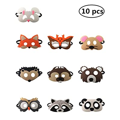 Felt Masks for Party, Forest Friends Animals Felt Masks Animals Theme Party Masks Birthday Party Favors Festivals Cosplay Party Costumes Dress-Up Supplies for Kids Boys or Girls (10 pcs): Clothing [5Bkhe0800858]