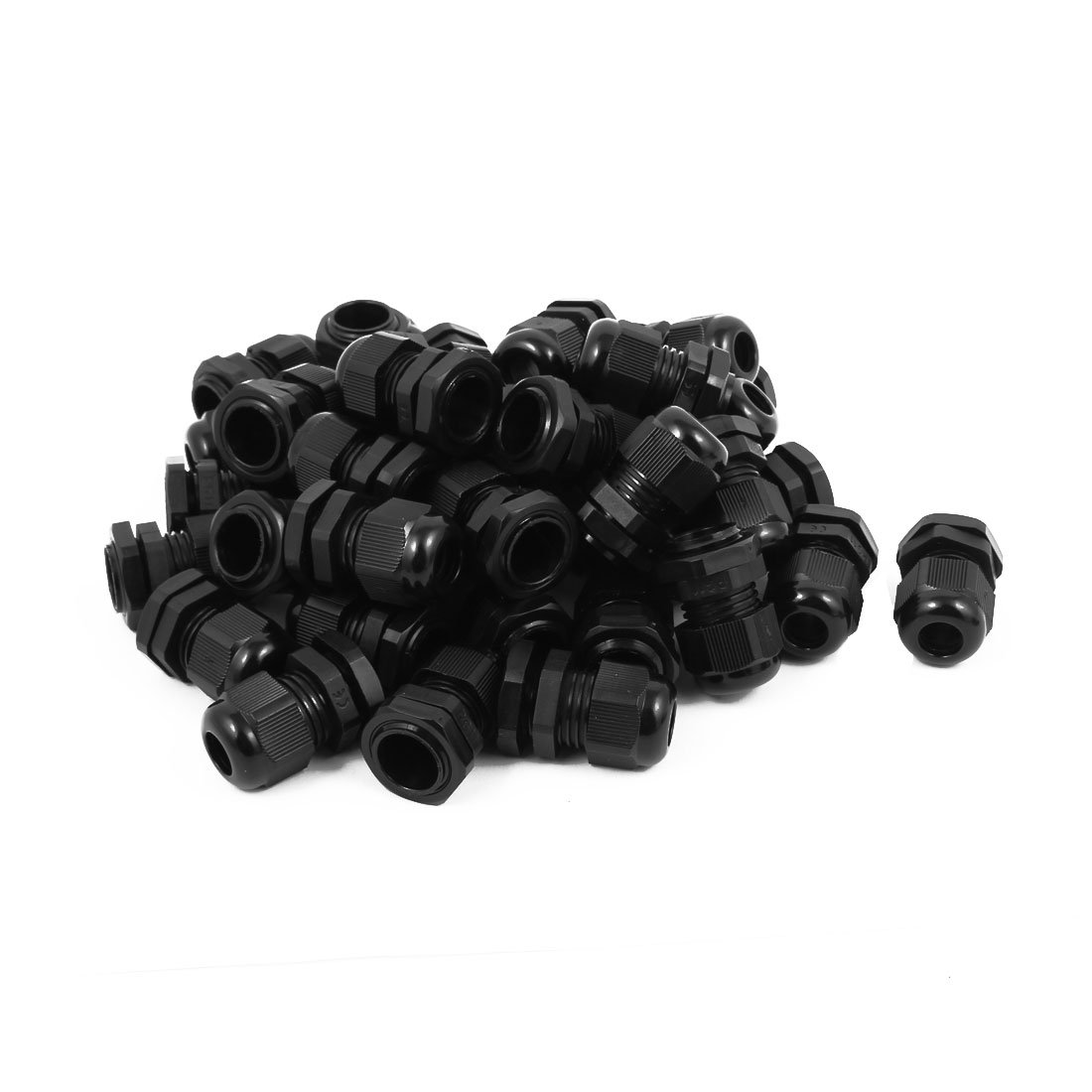 uxcell PG-11 Black Plastic Waterproof Connectors Cable Glands 20 Pcs