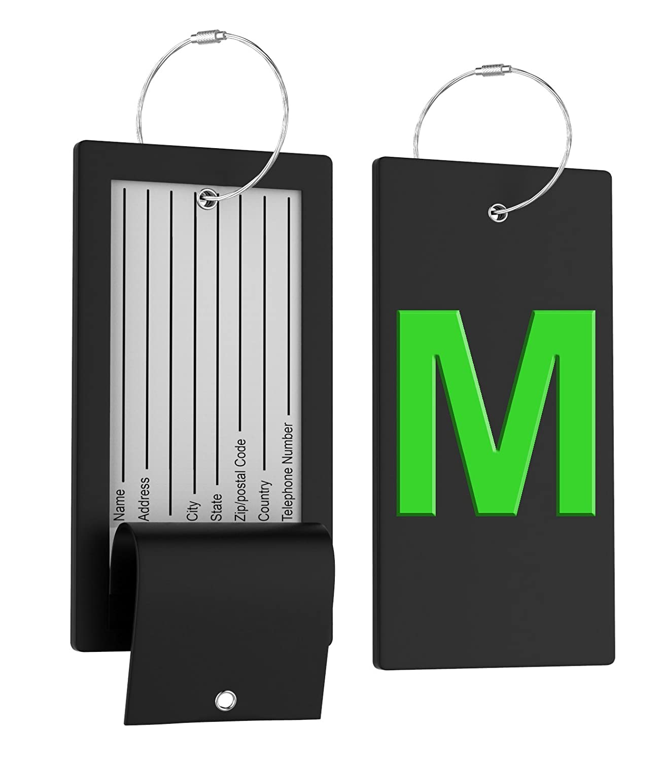 Luggage Tag Initial Bag Tag - Fully Bendable Tag w/Stainless Steel Loop Personalized_ID_Travel_Tag