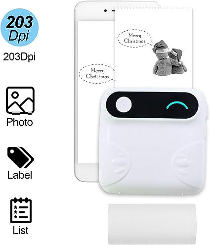 Topuality Mini BT Impresora de bolsillo inalámbrica Impresora portátil instantánea móvil Impresora de recibo de Papel Térmico Etiqueta de Impresora Compatible con Android iOS Smartphone Windows: Amazon.es: Oficina y papelería