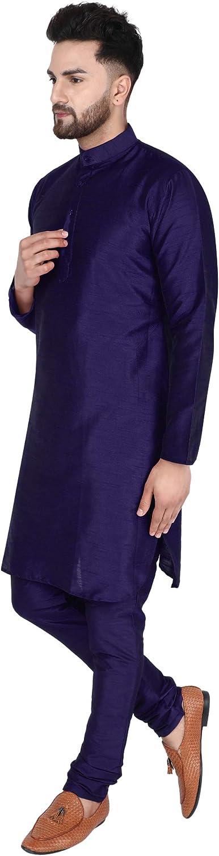 SKAVIJ Mens Dupion Art Silk Kurta Pajama Set Party Wear Ethnic Dress