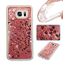NEXCURIO [Glitter Liquid] Samsung Galaxy S7 Edge Case Soft Silicone Shockproof Scratch Resistant Protective Cover for Samsung Galaxy S7 Edge(Rose Gold #5)