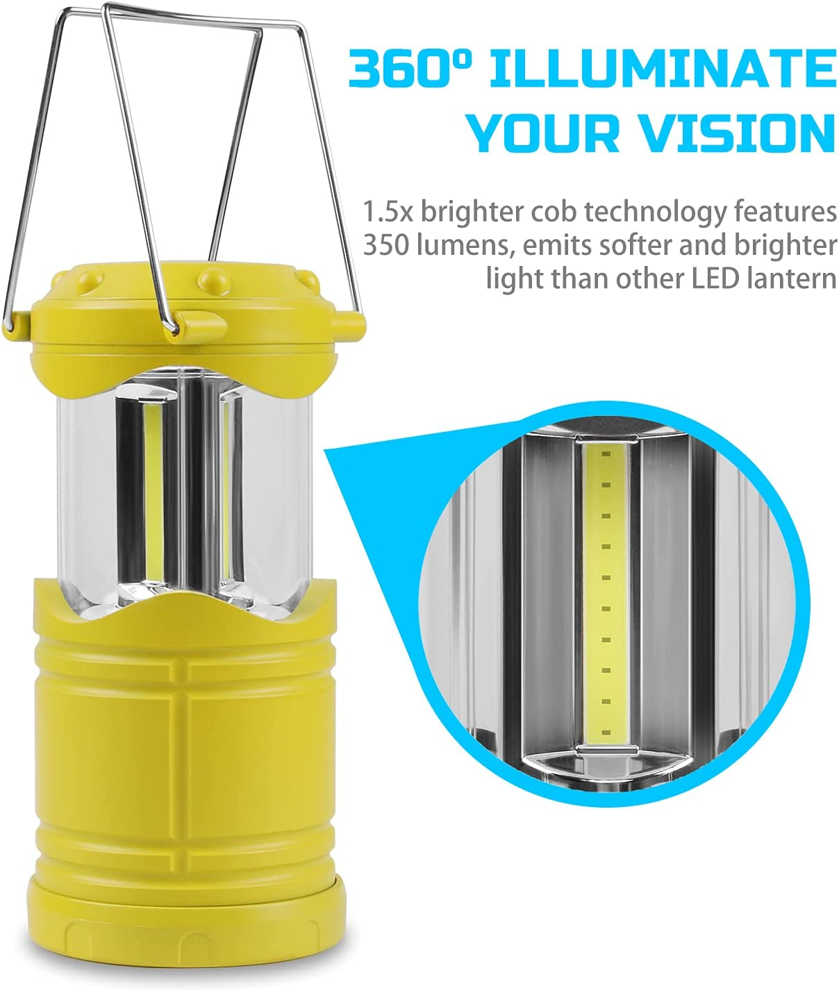 BeiQuan Rechargeable Torch Camping Lantern,350lm Waterproof Outdoor Wind up for