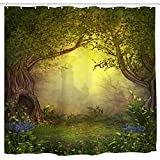 Mystic Forest Tree Shower Curtain Fabric,Enchanted Misty Castle Mystical Forest Romantic Fantasy Nature Ladscape with Flower Green Jungle Print,Fabric Waterproof Bathroom Decor with Hooks,72x72 inch