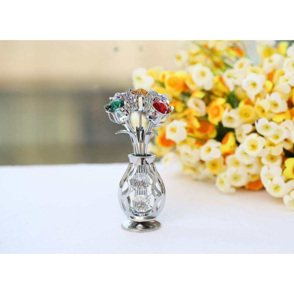 Matashi Chrome Plated Flowers Bouquet and Vase w Colorful Crystals Table Top Decorations Metal Floral Arrangement Elegant Home or Office D cor Chrome Silver