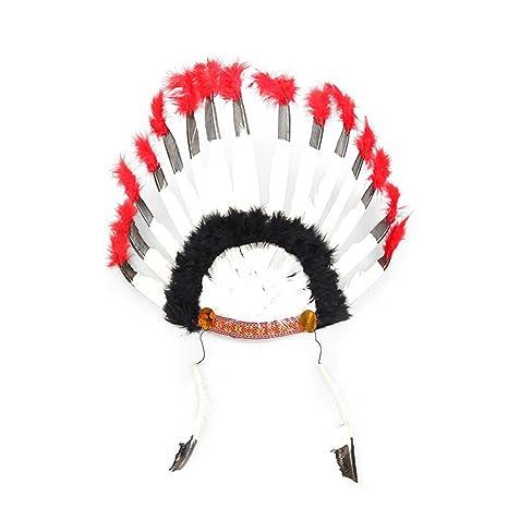 BESTOYARD 2PCS Plume Indienne Coiffure Carnaval Chapeau Costume Chapeaux  pour Femmes Fille Partie