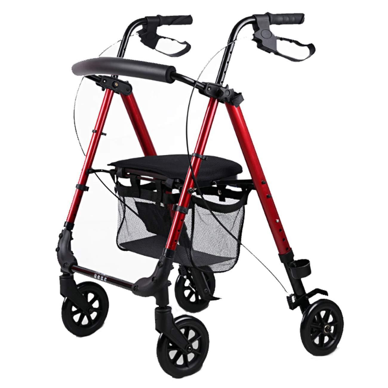 【訳あり】 高齢者の歩行者、4輪バスケット補助歩行器を運ぶ、ウォーキングウォーキングウォーキングウォーキングを折る Red、多色オプション : (色 : Red) B07L94GT2J Red B07L94GT2J, 県南中央青果:6ed7197d --- a0267596.xsph.ru