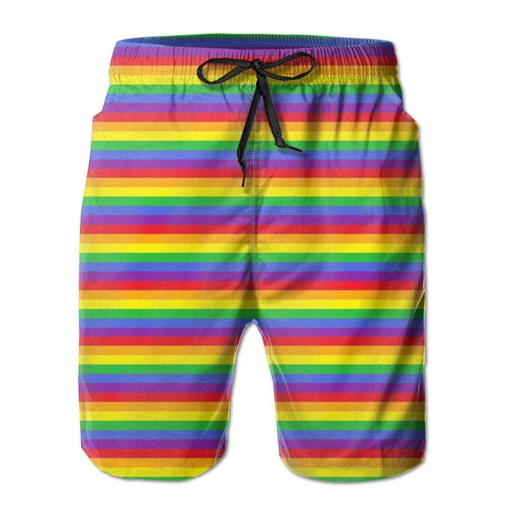 3b8f88f137dc Amazon.com : Tydo Rainbow Stripes Abstract Wave Men's Beach Shorts Classic  Summer Swim Trunks Surf Board Shorts Beach Pants With Pockets For Men :  Sports & ...