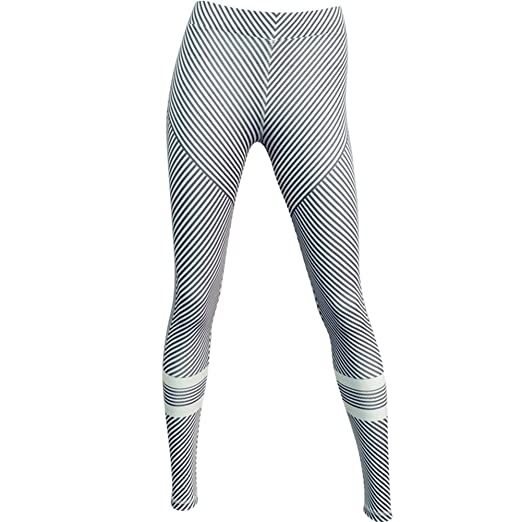 ec7002dd981b95 Amazon.com: M.Baxter Frauen High Elastic Yoga Hosen Schwarz und Weiß  Streifen Printing Slimming Sportswear (black/white, L): Clothing