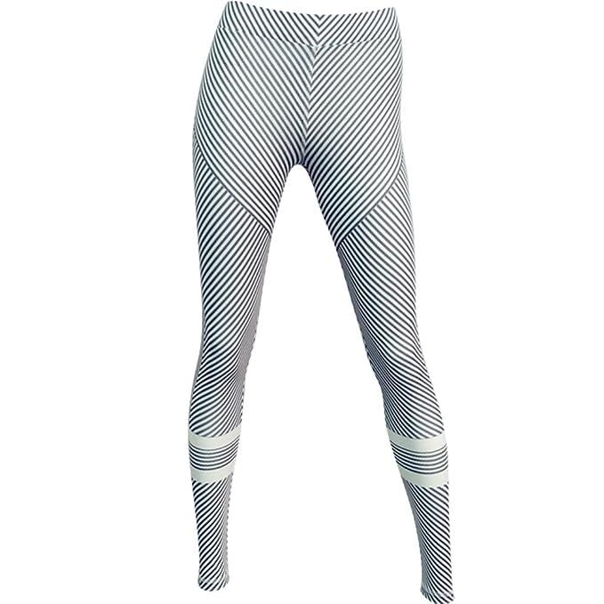 M.Baxter Frauen High Elastic Yoga Hosen Schwarz und Weiß Streifen Printing  Slimming Sportswear ( 5f903f0b74