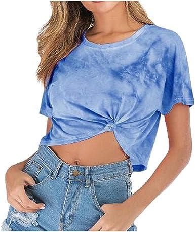 Wyxhkj Mujer Blusa Gradiente Color Camisa Manga Corta O-Cuello Tops Camisa Blusa Deporte Camiseta Corta Crop Tops: Amazon.es: Ropa y accesorios