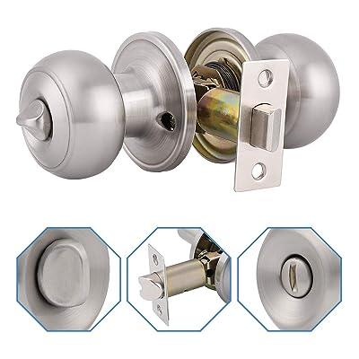 Round Door Knob Keyless Privacy Bathroom /& Bedroom Lock Passage Locks Set Handle