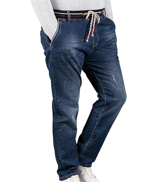 04759bcce Saoye Fashion Pantalones Vaqueros Ocasionales De Los Hombres con Los  Pantalones Vaqueros Ropa La Cintura Elástica con Cordón Operando E T Denim  Pantalones ...