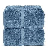 Indulge Linen Extra Soft Towel Set, 100% Turkish Cotton (Bath Sheets - Set of 2, Cornflower Blue)