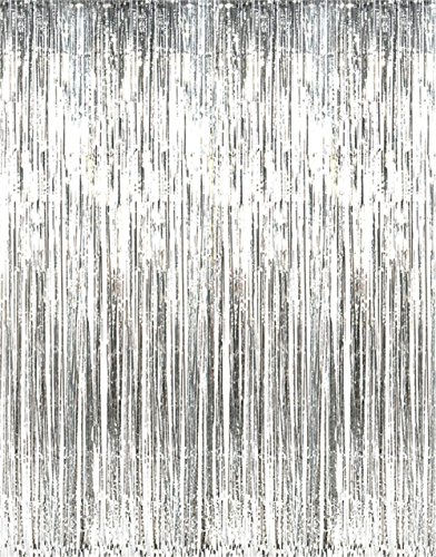 Rhode Island Novelty Metallic Silver Foil Fringe Curtains (1 Piece)