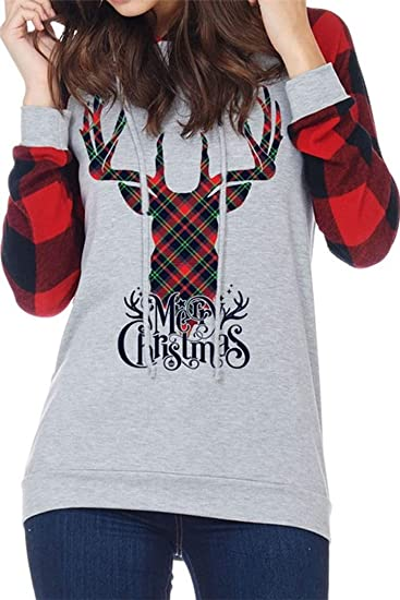 0ed74d35d3e Reindeer Letter Printed Merry Christmas Shirt Womens Tops and Blouses Long  Sleeve Gray M. Roll over image to ...