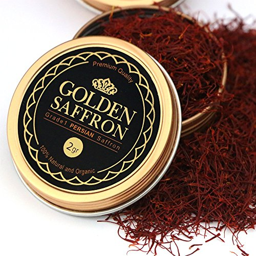 Golden Saffron, Finest Premium Persian All Red Saffron, Grade A+, Highest Grade (2 Grams)