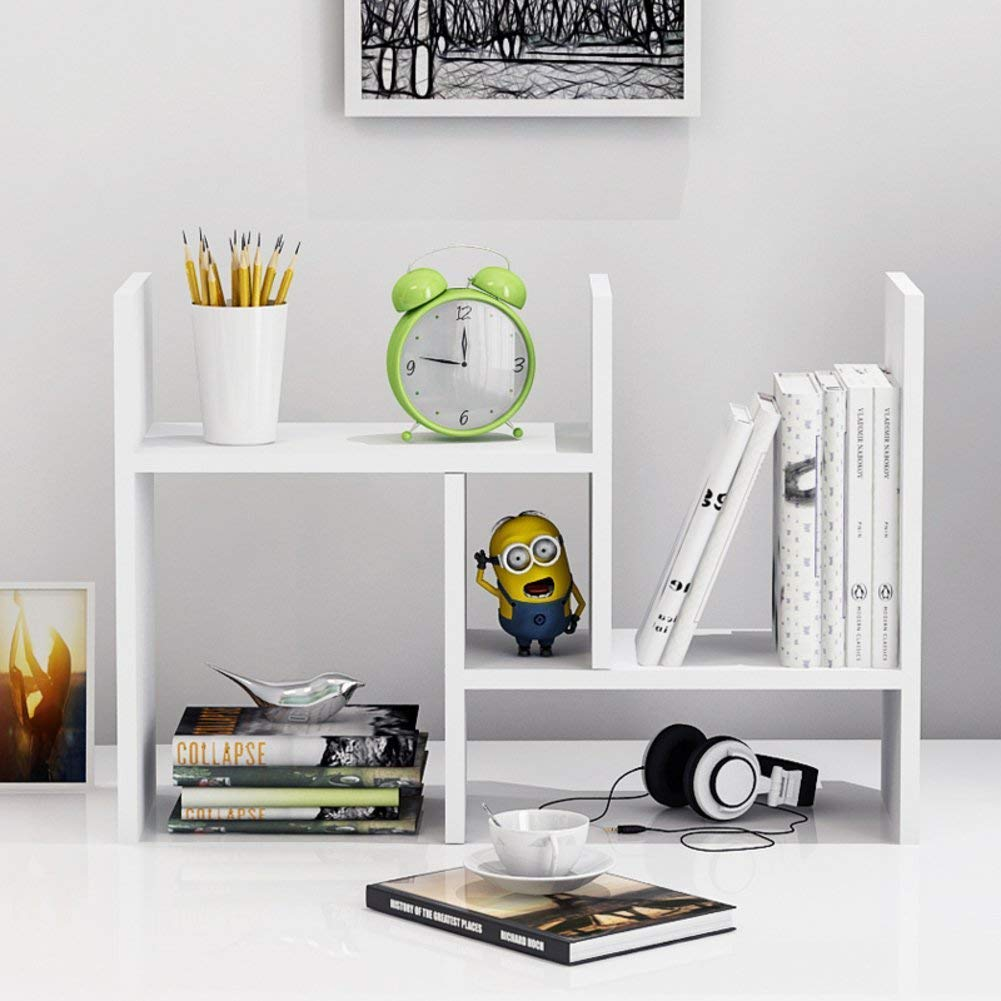 Expandable Wood Desktop Bookshelf Desktop Organizer Office Storage Rack Wood Display Shelf - Free Style Display True Natural Stand Shelf Rack Assembled Bookcase Adjustable Display Rack, White