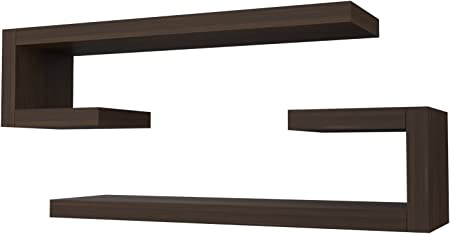 2 MENSOLE Design in Legno Salotto Camera Marrone Wenge Elle