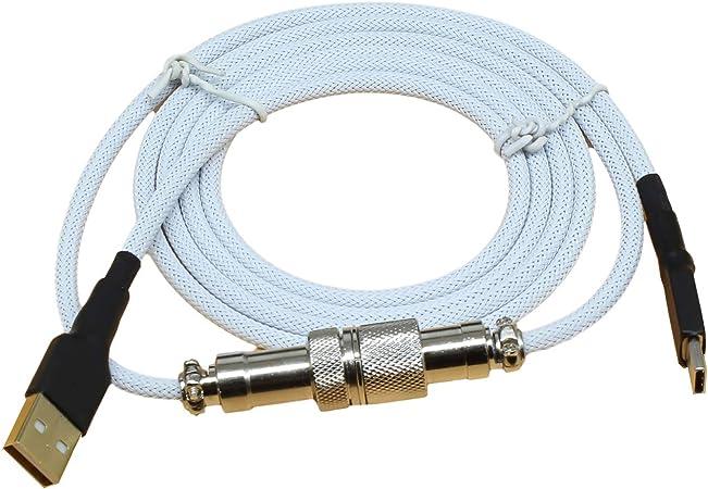 Geeksocial Cable USB Tipo-C para Teclado Mecánico con Conector de Aviación Revestido Cable Trenzado de Nylon Durable de 1.5M (Blanco)