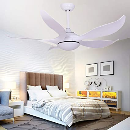 52 Inch White Ceiling Fan With Lights Led Ceiling Fan Modern Silent