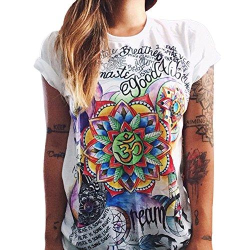 Tops Ete Shirt Femme Impression T Tunique Blouse Femmes Courtes Imprim JLTPH Shirt Casual Manches 4 T 6qv0wt