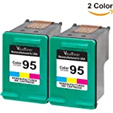Valuetoner Remanufactured Ink Cartridge Replacement for HP 95 CD886FN C8766WN (2 Tri-Color) 2 Pack